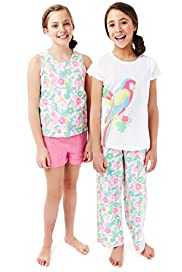 2 Pack Pure Cotton Floral & Parrot Pyjamas