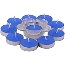 Giftadia Fancy 10 Pcs Ocean Breeze Scented Tealight Candles With Holder Set (GS-189) Blue (LBH 24 X 13 X 2.5 Cm)