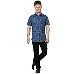 Ripfly Men's Casual Shirt (RF 712_Blue_Large)