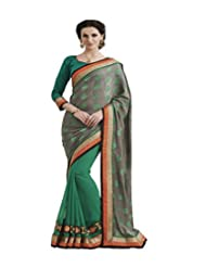 Graceful Clay And Green Georgette Saree With Blouse