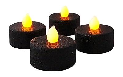 Black Glitter LED Tea Light Candles with Orange Flickering Flame, Set of 4