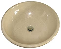 beautiful Crema Verona marble stone bathroom sink above vanity