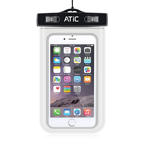 ATiC ストラップアームバンド式両用透明防水ケース - iPhone 6S / iPhone 6 / 6 Plus / 5 / 5S / 4 / 4S, Samsung Galaxy S6 / S6 Edge / s6 edge+ /S5 / S4 / S4 Active, Note 4,Note 5, iPod Touch 3 / 4 / 5, HTC ONE X / ONE S Z520E / ONE M9, Windows Phone 8 ( ATT, T-Mobile, Verizon ), Motorola DROID RAZR /MOTO G3/ LG G2 / G3 / Droid Turbo, LG G Flex 2, Nexus 4 / Nexus 6, Zenfone 2, Sony Z1 / Z2 / Z3(5.7インチ以下の携帯)に適用ストラップアームバンド式両用防水 ケース。防水保護等級 : IPx8。WHITE