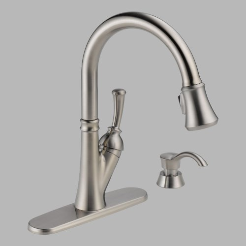 Delta 19949-SSSD-DST Savile Single Handle Pull-Down Kitchen Faucet With Soap Dispenser, Not CA/VT Compliant, Stainless