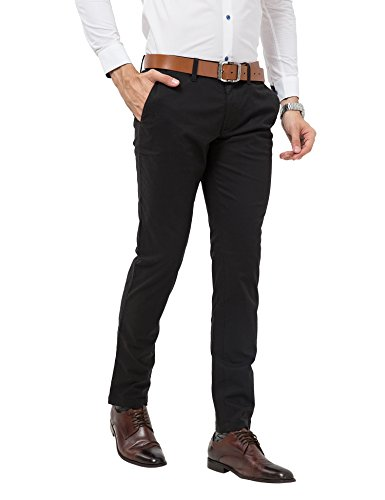 ADFOLF Men's Straight Fit Casual Dress Work Pleated Pants Flat Front Black 38*34 (Skinny Dress Pants compare prices)