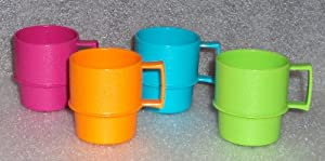 Tupperware Mini Mugs Play Set, Doll Size, Bright Colors, Set of 4