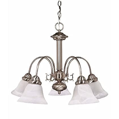 Ideal Nuvo Lighting Ballerina Light Chandelier with Alabaster Glass Shade Brushed Nickel