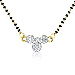 Mahi Eita Collection Gold Pated White Crystal Mangalsutra Pendant - PS1196001G