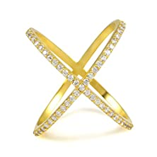 """buy 18K Yellow Gold Over Sterling Silver Cubic Zirconia Criss-Cross Single """"X"""" Ring"""
