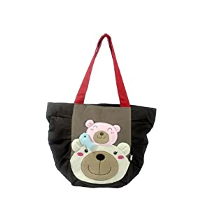 [Bear Family] 100% Cotton Canvas Shoulder Tote Bag / Shopper Bag [Bear Family] 100% Cotton Canvas S