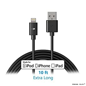 Apple MFI Certified | 10 Foot / 3 Meter Lightning to USB Cable Extra Long Toughest and Most Durable 8pin 10 Feet Charging Cord Ever Made for iPhone, iPad, and iPod [2 Year Warranty] Press Play® - Black
