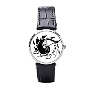 Dr. Koo With Leather Wrap Watches Black Vintage Wrist Watches