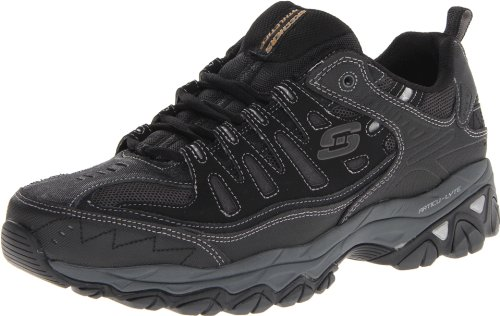 Skechers Sport Men's Afterburn Memory Foam Lace-Up Sneaker,Black,7.5 M US