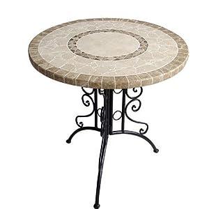Tavolo in ferro battuto tondo giardino piano in pietra cm for Panchina ferro battuto amazon
