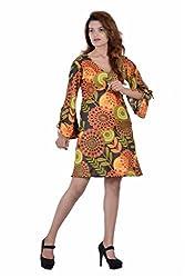 Jaipur kala kendra Women's Cotton Floral Printed Dress Top Medium Black Color Ethnic Kameez