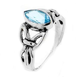 Sterling Silver Celtic Knot Blue Topaz Ring Size 5(Sizes 4,5,6,7,8,9,10,11,12,13,14,15)