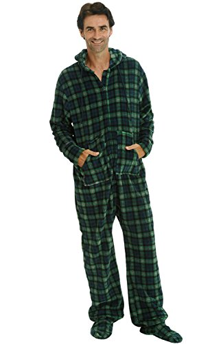 Del Rossa Men's Fleece Onesie, Hooded Footed Jumpsuit Pajamas, 2XL Blue and Green Plaid (Onesie For Male Adults)