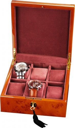 Auer Accessories Bateia 036BB Watch Box For 6 Watches Blond Burlwood