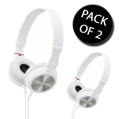 2 x Sony MDR-ZX300W modischem Style Kopfhörer Monitor - Weiß