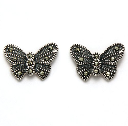 Sterling Silver Marcasite Butterfly Stud Earrings