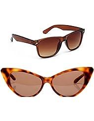 New Stylish UV Protected Combo Pack Of Sunglasses For Women / Girl ( BrownWayfarer-BrownCateye ) ( CM-SUN-049 )