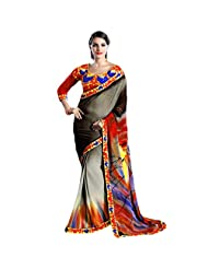 Anushree Women's Grey, Red & Yellow Georgette Saree