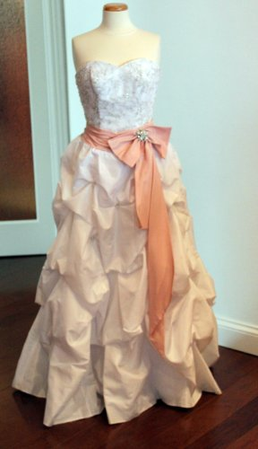 White Taffeta Wedding Dress  Optional Pink Sash