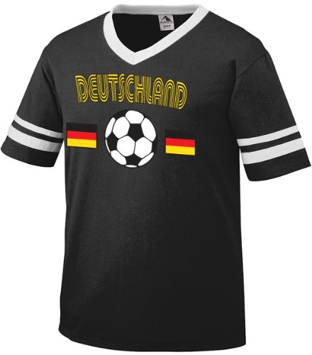 Deutschland Flags International Soccer Ringer T-shirt, Germany Soccer Mens Ringer T-shirt