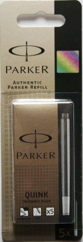 Parker-Quink-Boîte de 5 cartouches d'encre Noir et lavable