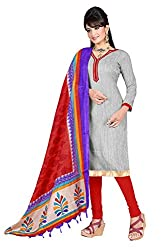 Swagpod Grey Bhagalpuri Khadi Unstitched Dress Material SWAG00272