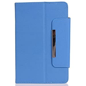 Crazycity Arrival Colorful Tablet Case 7 Inch Universal PU Leather Executive Folio Case Cover with Stand and Magnet Button (Blue) from Crazycity