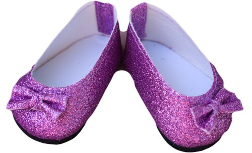 Sparkly Purple Doll Shoes for 18 Inch Dolls