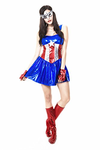 I-Coser Halloween costumes dress Captain America Free Size style 2