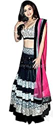 FabTexo Black Color Georgette & Net Embroidered Semi_Stiched Lehenga Choli For Women