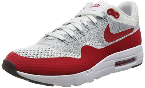 Nike Men's Air Max 1 Ultra Flyknit White/University red Running Shoe 9 Men US (Nike Air Max Flyknit compare prices)