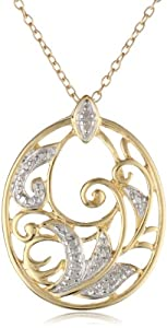 18k Yellow Gold Plated Sterling Silver Diamond Accent Pendant, 18
