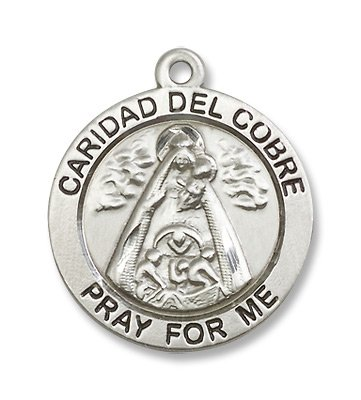 Sterling Silver Caridad Del Cobre Medal Pendant with 24