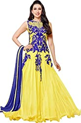 Awesome Fab Yellow Soft Net Semi-Stiched Embroidered Anarkali