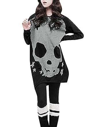 Allegra K Woman Long Sleeve Skull Pattern Stretch Uneven Hem Shirt Black XS