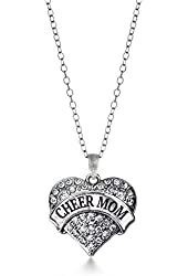 Inspired Silver Cheer Mom Pave Heart Necklace Clear Cystal Rhinestones