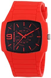 Diesel Red Analogue Watch DZ1351 With Silicone Strap