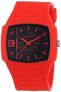Diesel - DZ1351 - Montre Homme - Quartz Analogique - Cadran Noir - Bracelet Silicone Rouge