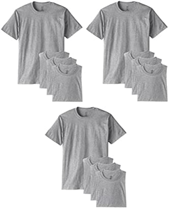Fruit of the Loom Men's 12Pack TALL Grey Crew Neck T-Shirts Undershirts L