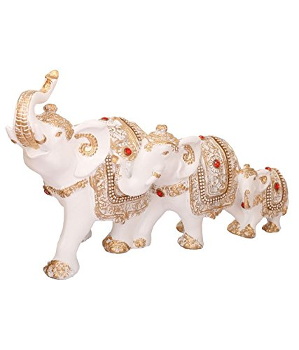 Odishabazaar White And Gold Elephant Family Set Of 3