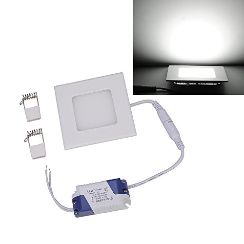 Ljy Led Recessed Ceiling Flat Panel Down Light Lamp (White, 6W Square)