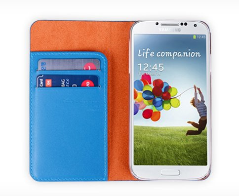 S4 Case, Soft Leather Wallet, Samsung Galaxy S4 Mobile Handmade Italian Cover (At&T, Verizon, Sprint, T-Mobile) - Retail Packaging
