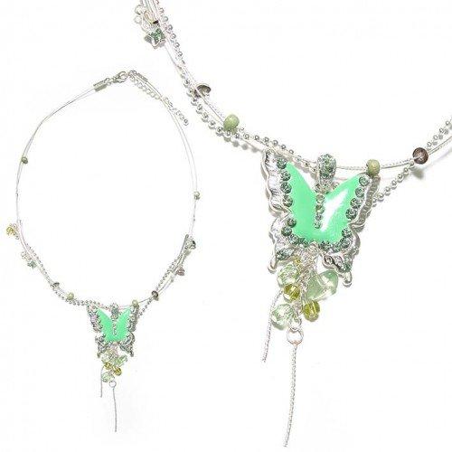 SG Paris Necklace 40cm+Ext Light Green Vert Combinaison Necklace Necklace Enamel/Metal Bargains Teenager Bucolic Fashion Jewelry / Hair Accessories Butterfly