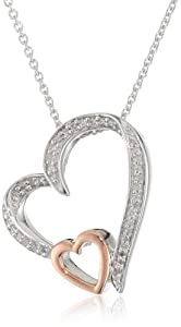 10K Rose Gold and Silver Diamond Double Open Heart Pendant Necklace (1/10 cttw, I-J Color, I3 Clarity), 18