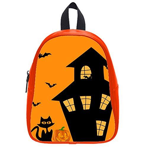 Funny Happy Halloween Elf Jack-O'-Lantern Kid'S School Bag & Backpack For Kids Red front-984516