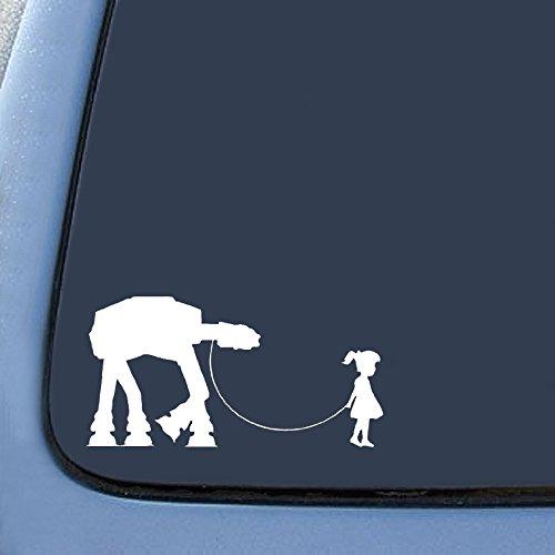 """Bargain Max Girl Walking Robot Sticker Decal Notebook Car Laptop 8"""" (White)"""